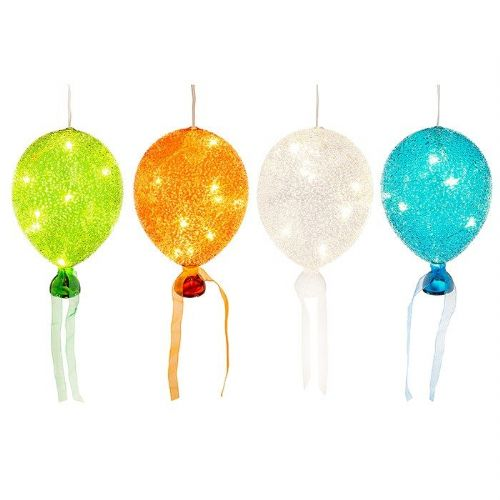 Medium Bright Sugar Art Glass LED Light Up Illuminated Balloons